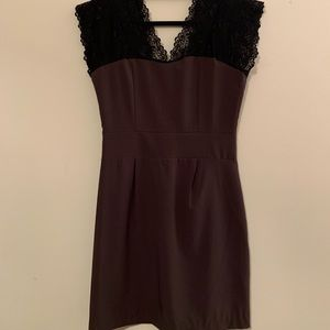 Dark Purple Cocktail Dress with Lace Detailing